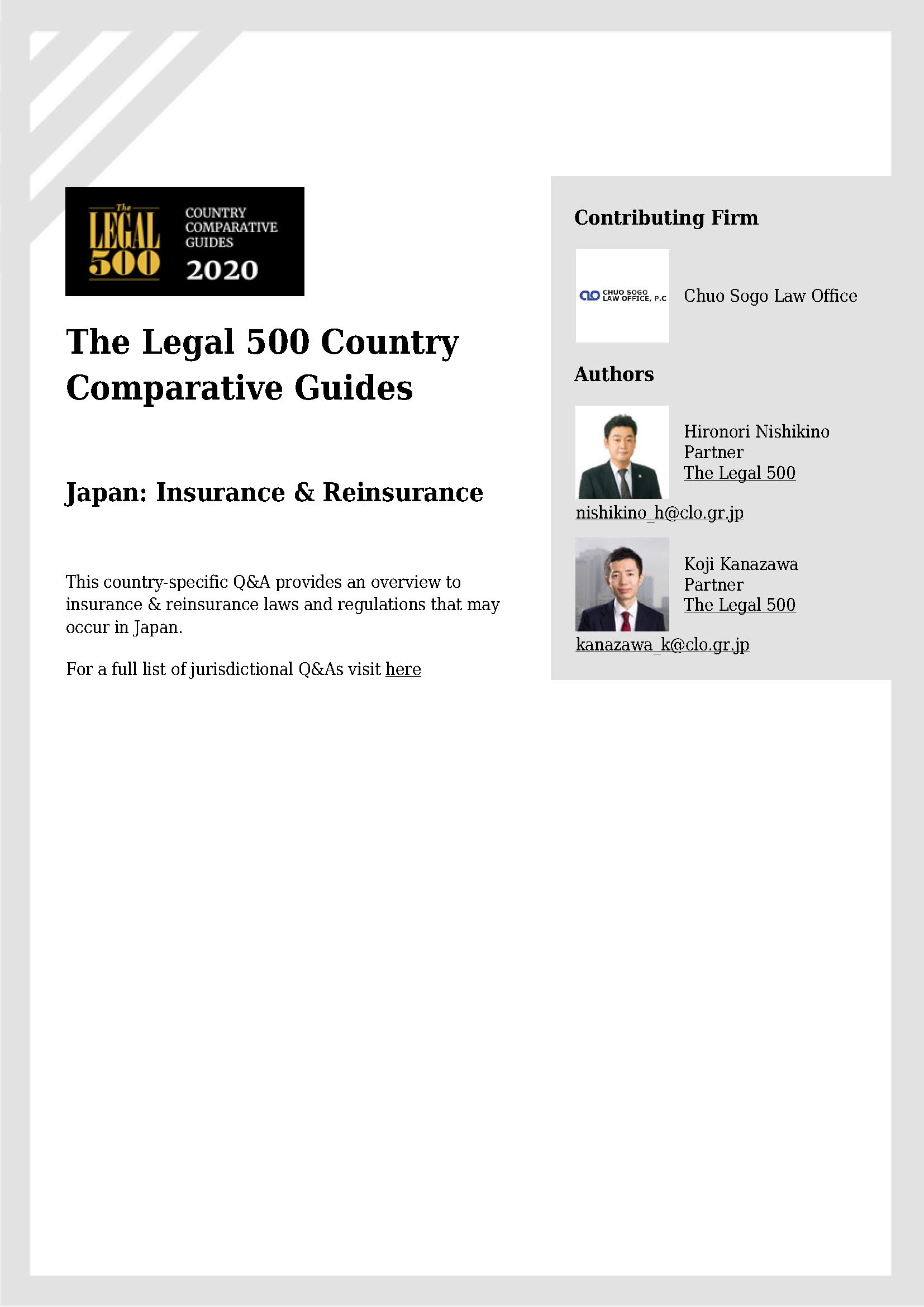The Legal 500: 4th Edition Insurance & Reinsurance Comparative Guide